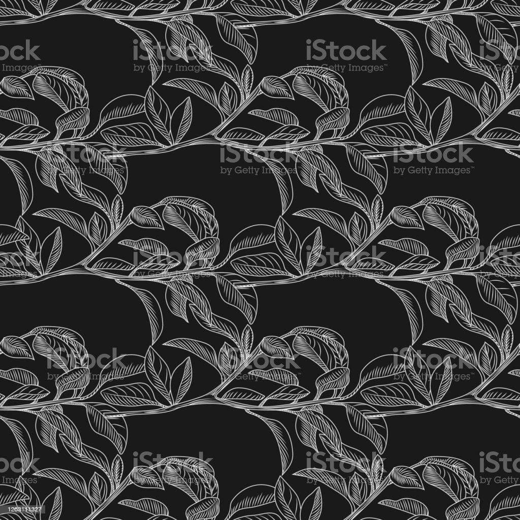 黒と白の葉のシームレスな背景モノクロは壁紙を残します イラストレーションのベクターアート素材や画像を多数ご用意 Istock