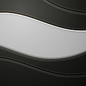 Black and White Leather with Stitch Background. Leather Banner With Copy Space Place.