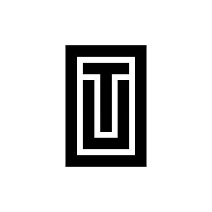 Black and white letter TU UT OTU OUT initial logo icon