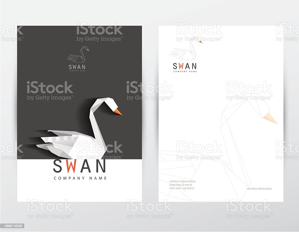 Black And White Letterhead Design Corporate Identity Low Poly Swan Royalty Free