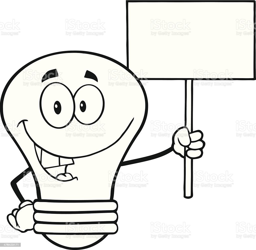 Black and White Light Bulb Holding Up A Blank Sign royalty-free black and white light bulb holding up a blank sign stock vector art & more images of banner - sign