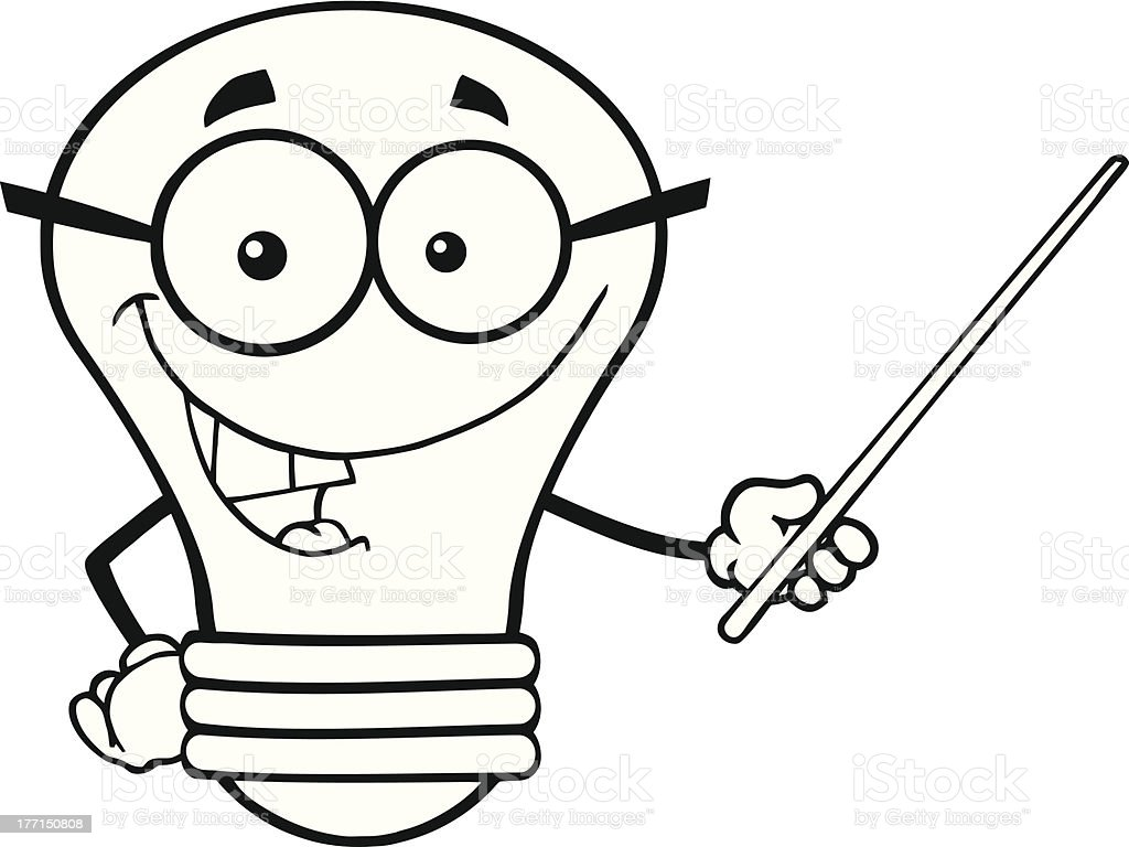 Black And White Light Bulb With Glasses Holding A Pointer Royalty Free