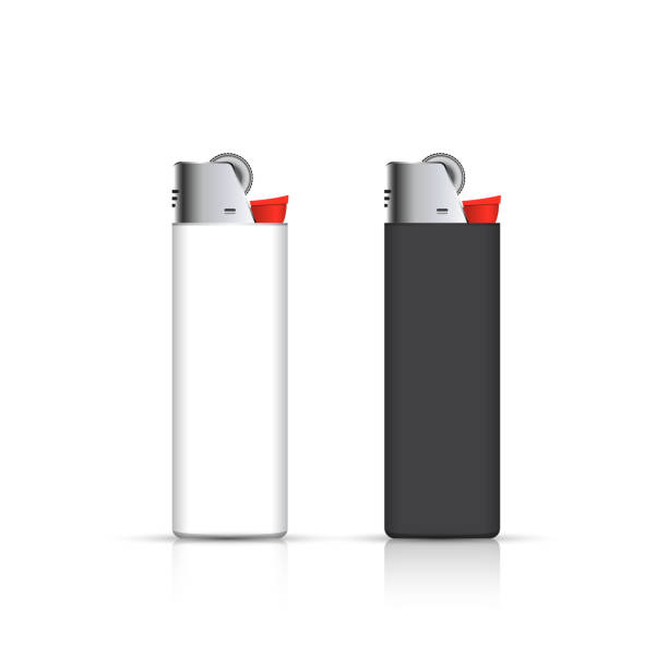 schwarz und weiß feuerzeuge isoliert auf weiß. vektor für firmen - feuerzeuggas stock-grafiken, -clipart, -cartoons und -symbole