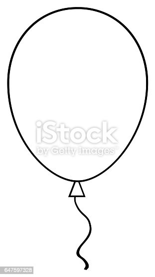 Black And White Line Art Balloon Stock Vector Art & More ...