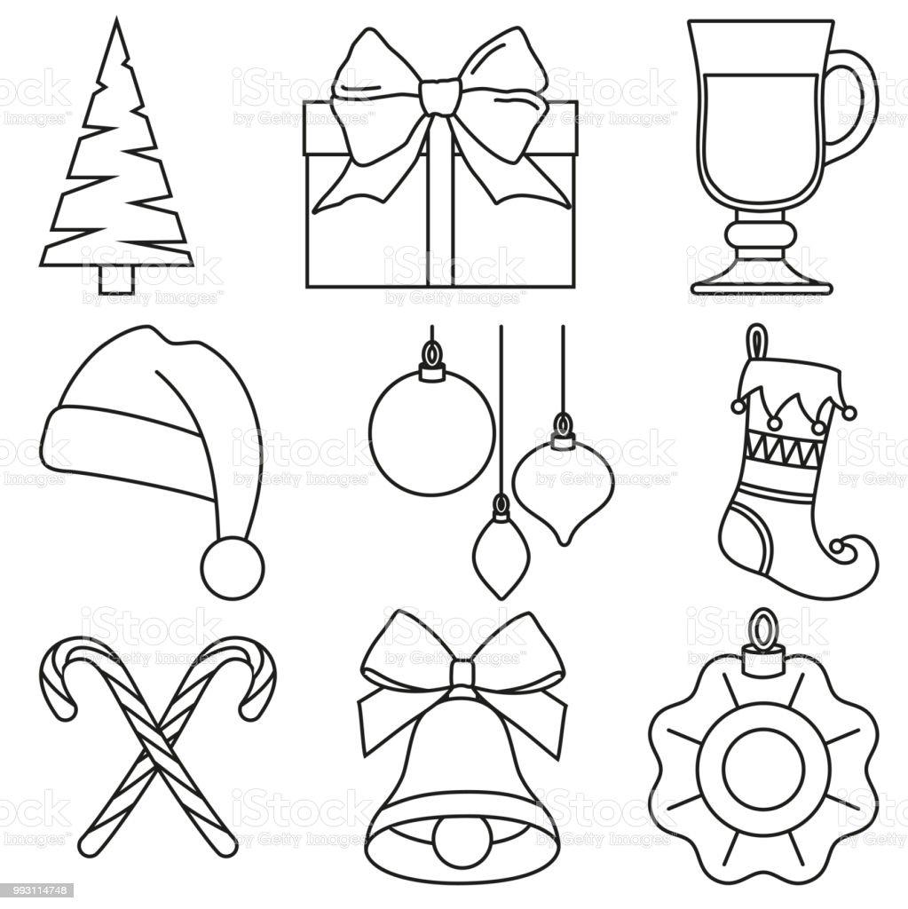 Dessin Au Trait Noir Et Blanc Des éléments De Noël Vecteurs