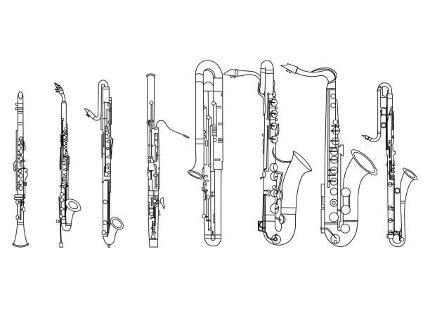 black and white line art drawing of  woodwind octet illustration - klarnet stock illustrations