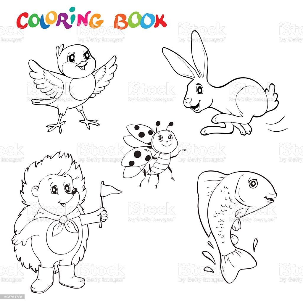 Black And White Line Art Drawings Animals Collection Coloring Book