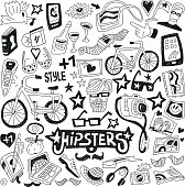 Black and white line art hipster themed doodle icon set