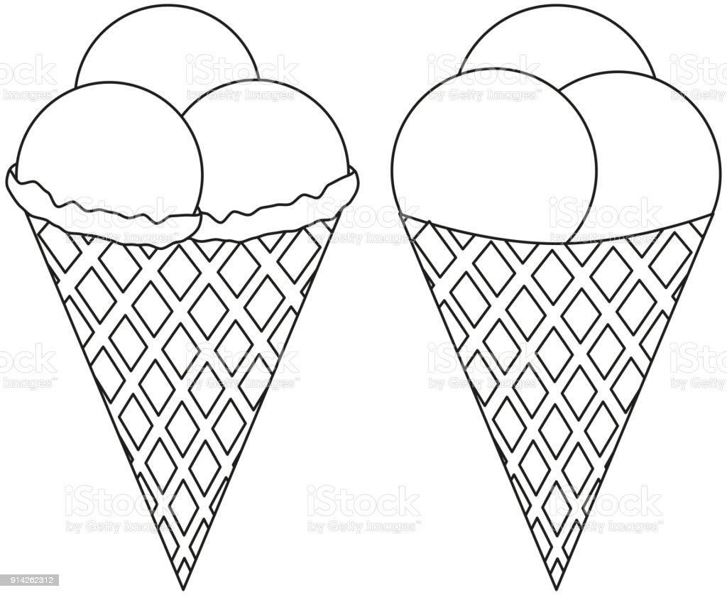 Siyah Ve Beyaz Satir Sanat Simge Dondurma Koni 3 Top Seti Stok