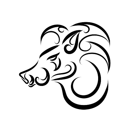 Black and white line art of boar head. Good use for symbol, mascot, icon, avatar, tattoo, T Shirt design, logo or any design you want.