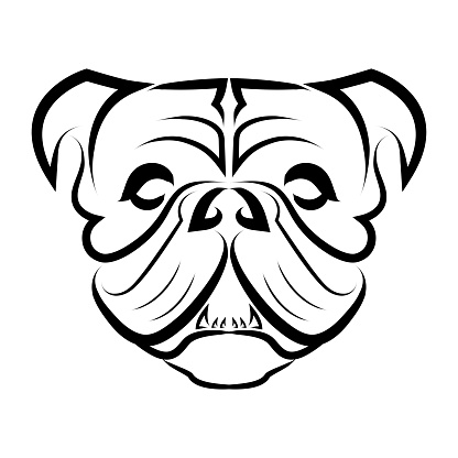 Black and white line art of bulldog or pug dog head. Good use for symbol, mascot, icon, avatar, tattoo, T Shirt design, logo or any design you want.