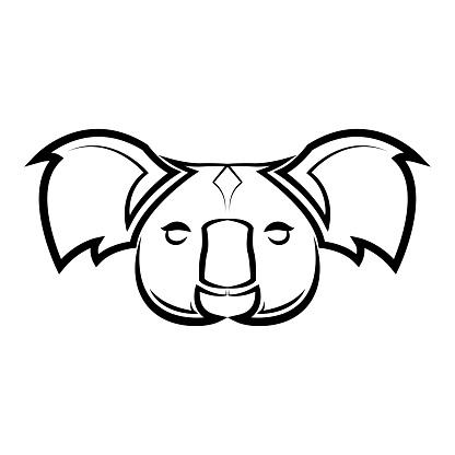 Black and white line art of koala head. Good use for symbol, mascot, icon, avatar, tattoo,T-Shirt design, logo or any design.