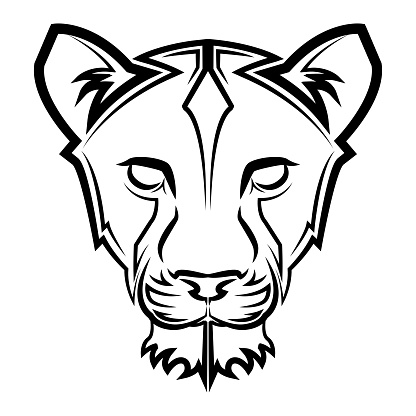 Black and white line art of lioness head Good use for symbol mascot icon avatar tattoo T Shirt design logo or any design