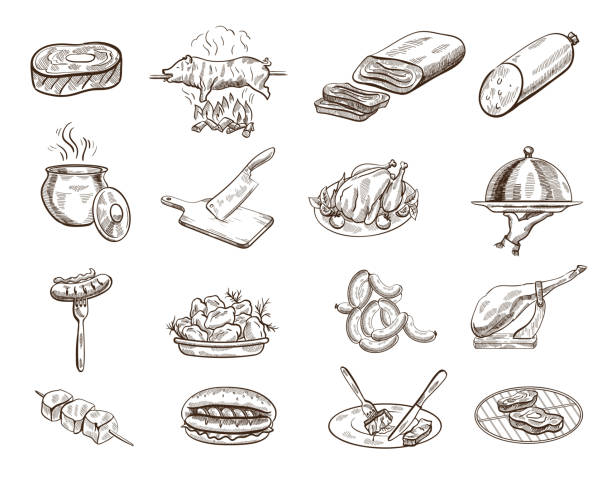 stockillustraties, clipart, cartoons en iconen met black and white line drawings of various food - meat pan
