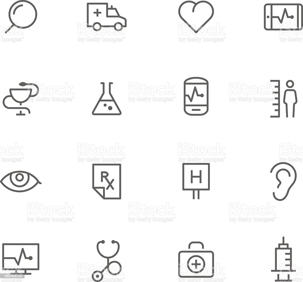 Black and white lined medical icons vector art illustration