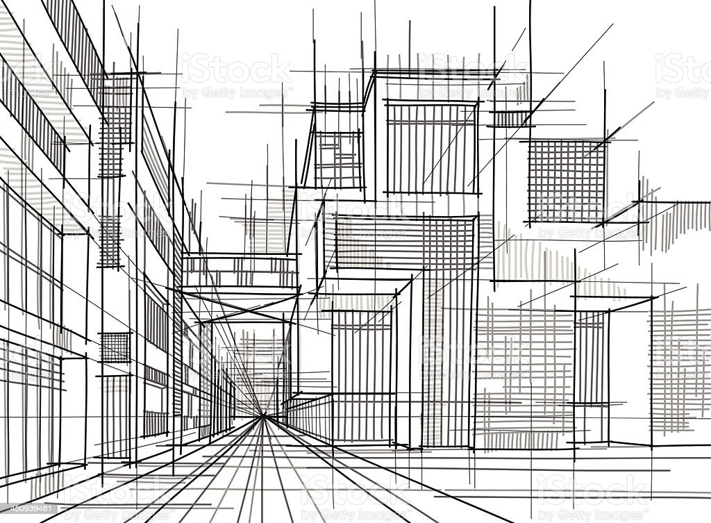 Black And White Lines Drawn Into An Architectural Drawing