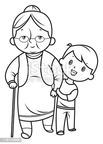 istock Black and White, Little boy helps the grandmother 1197448992