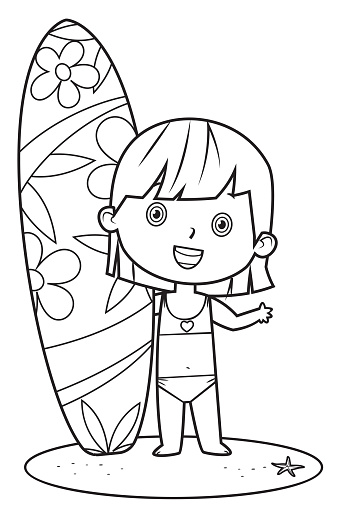 Black And White, Little girl holding surfboard