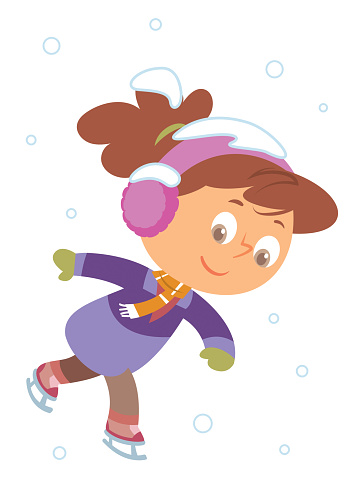 Black And White, Little girl skating flat vector illustration. Happy childhood, outdoor leisure. Winter holidays, Smiling kid on ice rink
