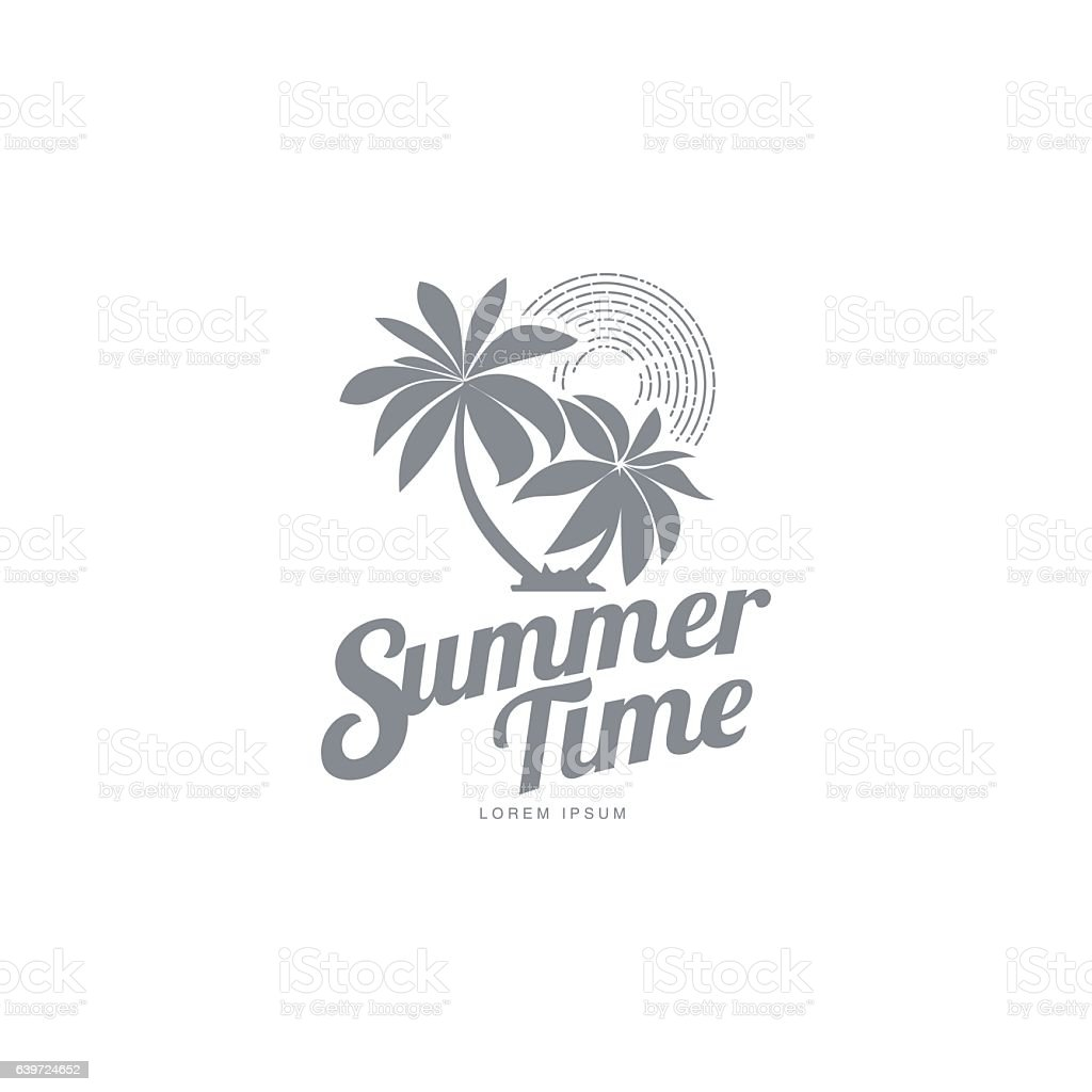 Black and white logo template with two palm trees vector art illustration