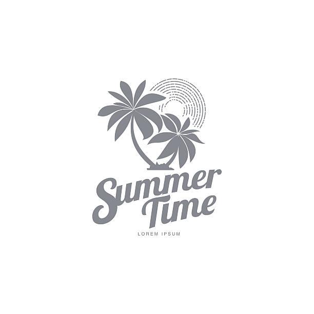 bildbanksillustrationer, clip art samt tecknat material och ikoner med black and white logo template with two palm trees - ö