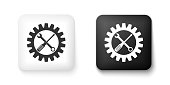 Black and white Maintenance symbol - screwdriver, spanner and cogwheel icon isolated on white background. Service tool symbol. Setting icon. Square button. Vector.