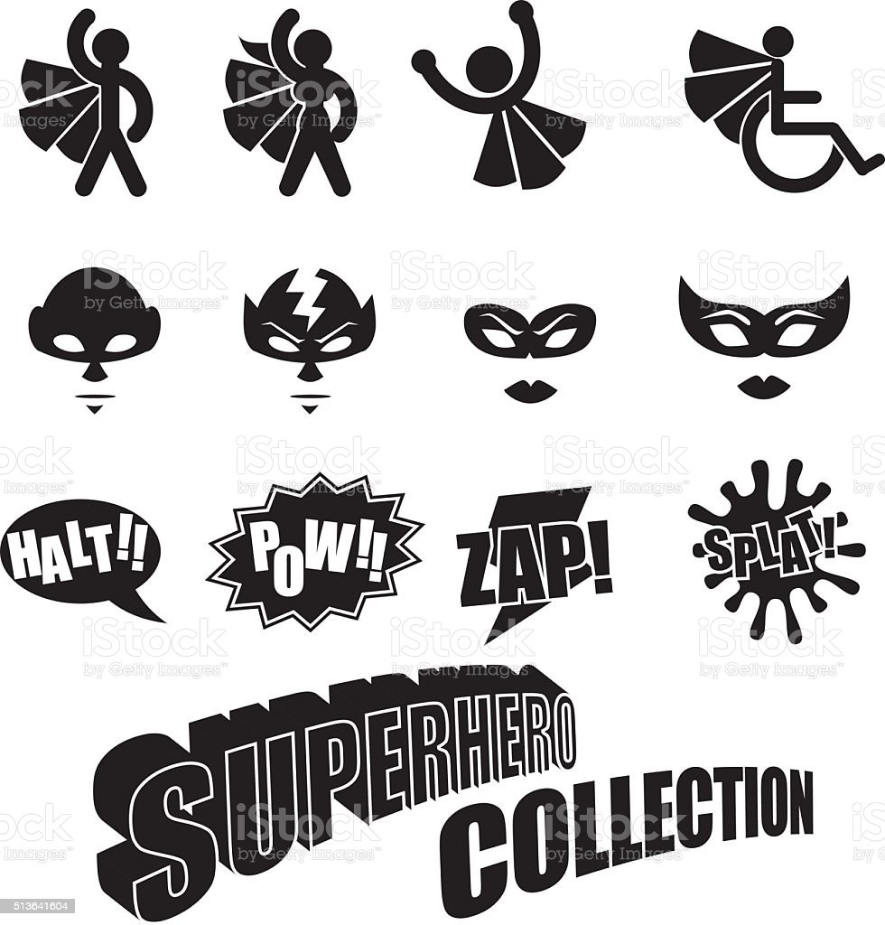 Black and white male female superhero icons collection vector art illustration