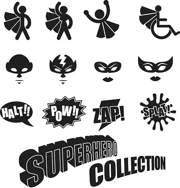 bildbanksillustrationer, clip art samt tecknat material och ikoner med black and white male female superhero icons collection - superwoman barn