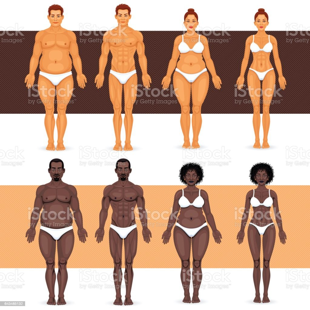 Black and white man and woman losing weight vector art illustration