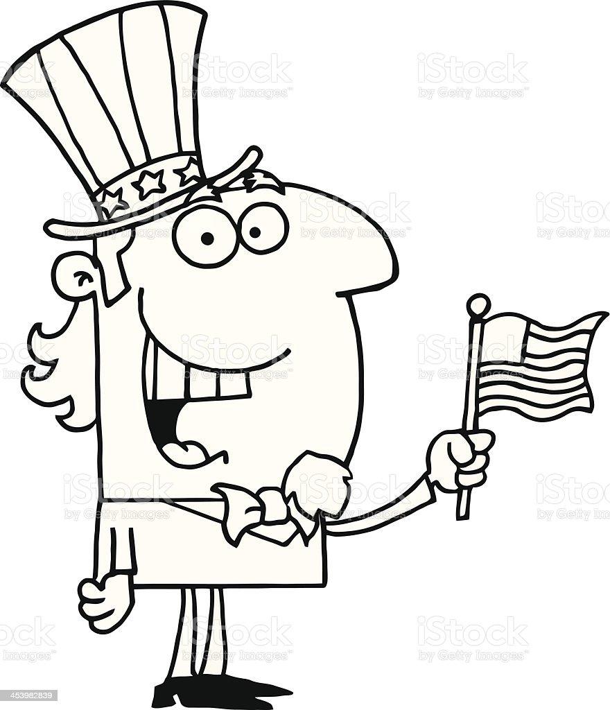 Bianco E Nero Uomo Che Tiene Una Bandiera Usa Immagini Vettoriali