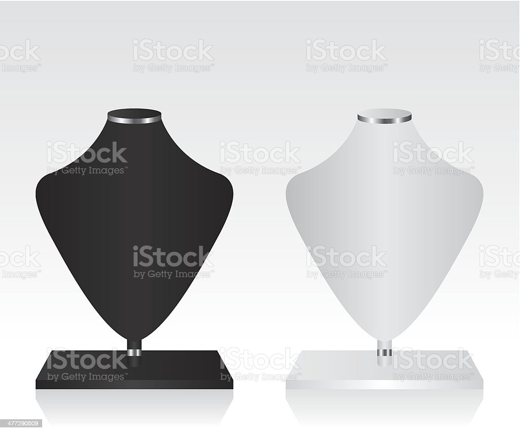 Black and white mannequin jewelry stand royalty-free stock vector art