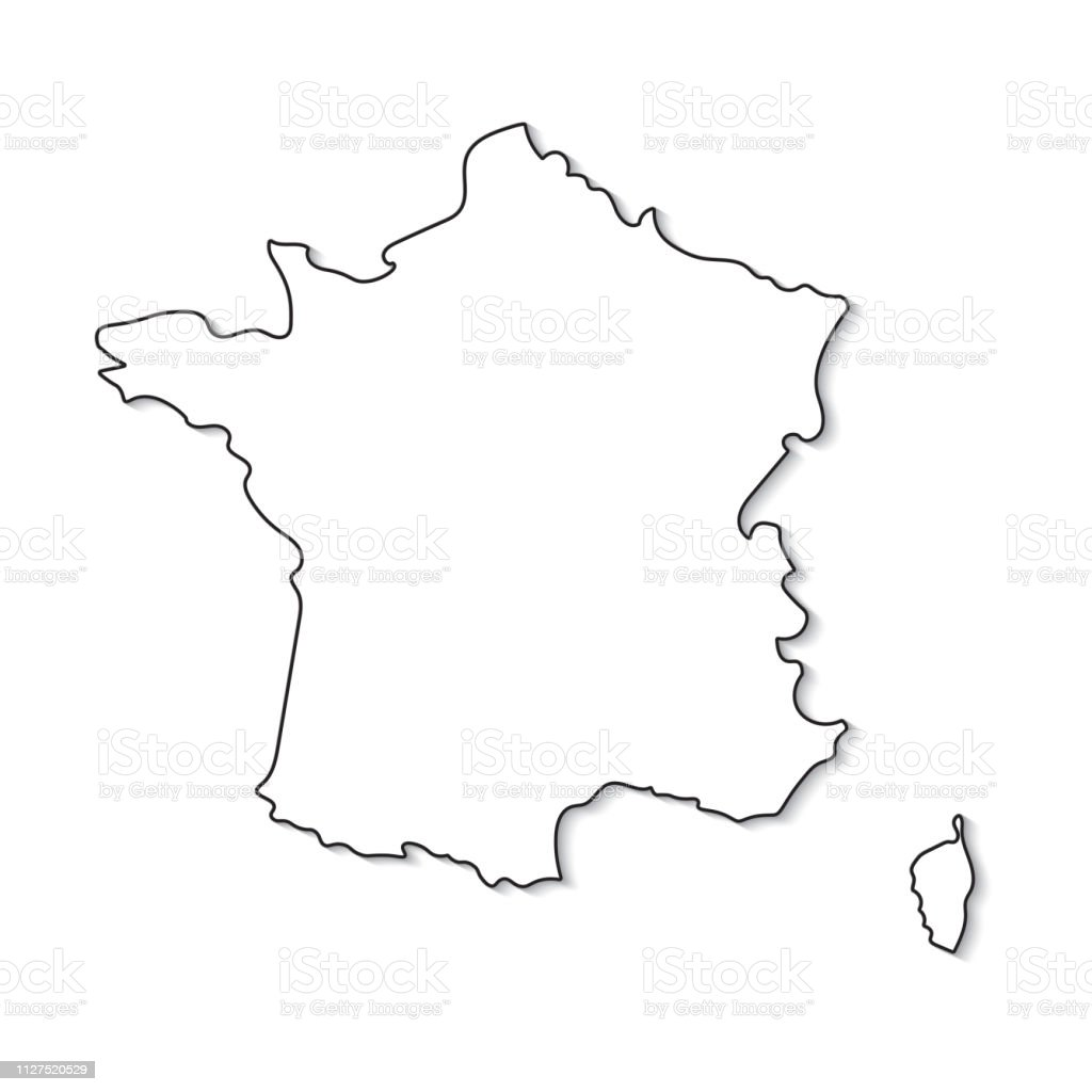 carte de france blanche Black And White Map Of France Stock Illustration   Download Image