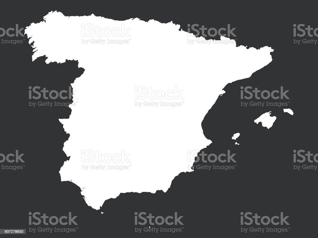 Carte Espagne Noir Et Blanc.Carte Noir Et Blanc Despagne Vecteurs Libres De Droits Et