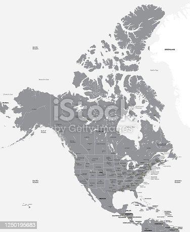 Mapa en blanco y negro de EE.UU. y Canadá