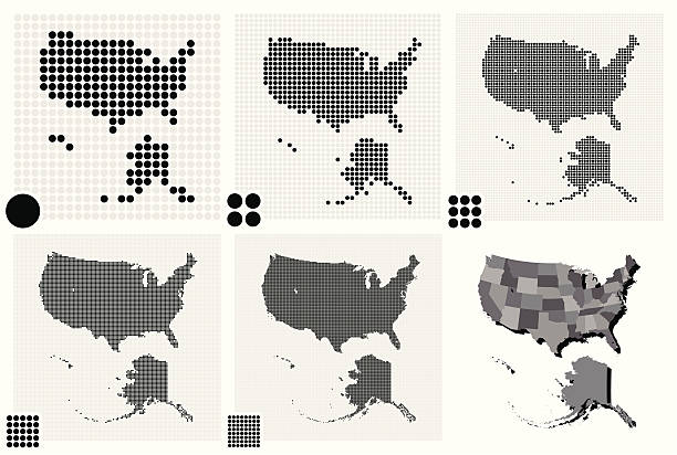 stockillustraties, clipart, cartoons en iconen met black and white maps of the united states - united stats halftone dots