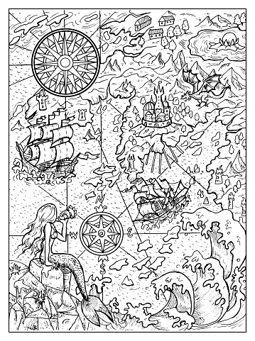 Black and white marine illustration of map with mermaid, islans, continent, ship, compass and sea monsters.
