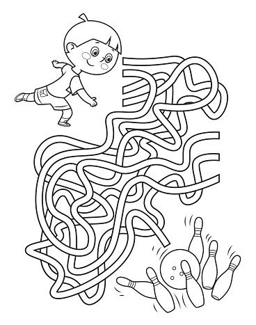 Black And White Maze, Boy throwing bowling ball at the pins