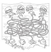 Vector Black And White, Maze, Diving