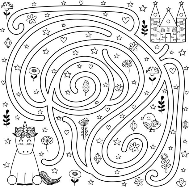 black and white maze game and coloring page for kids. help the unicorn find the way to the castle - coloring book pages templates stock illustrations
