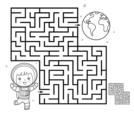 Black And White, Maze game for children. Help the astronaut to get to Earth