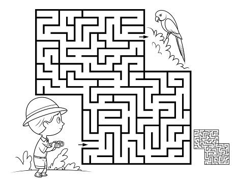 Black And White, Maze game for children. Parrot
