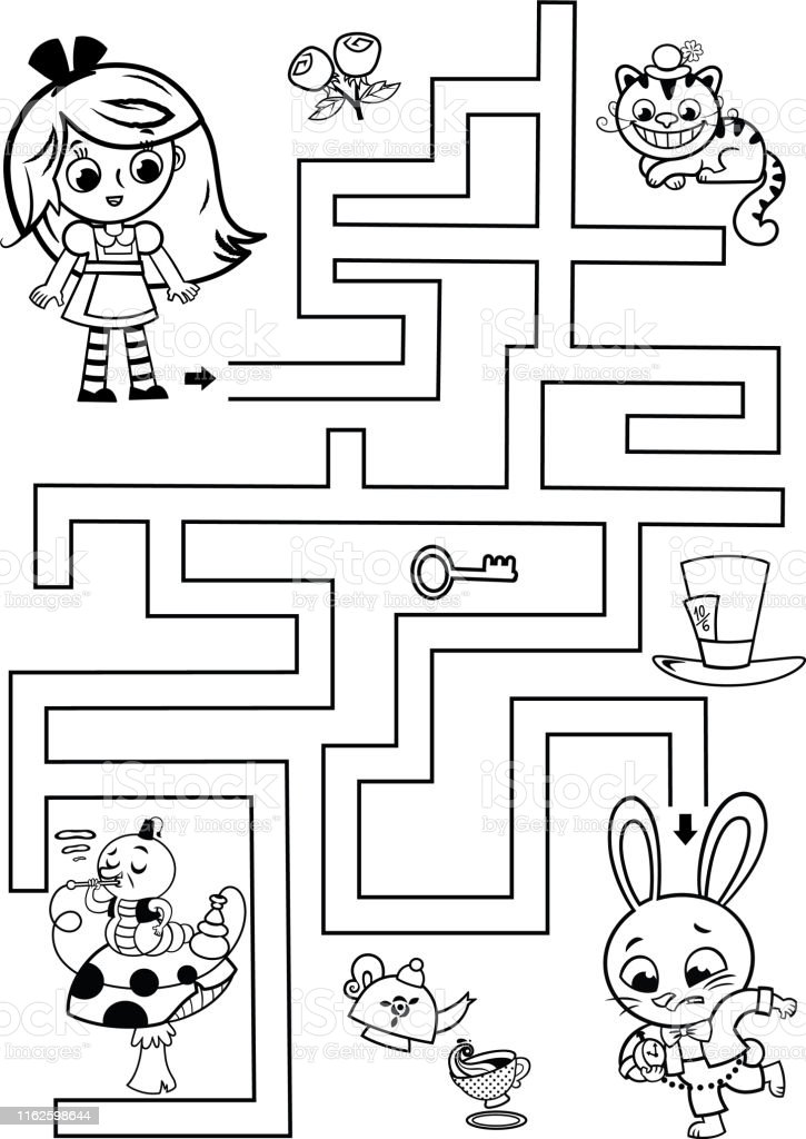 Black And White Maze Game For Children Stock Illustration Download Image Now Istock