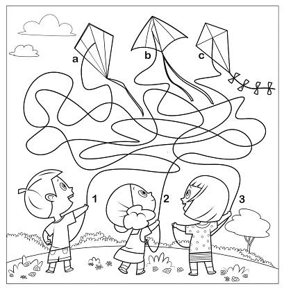 Black And White, Maze Game For Children