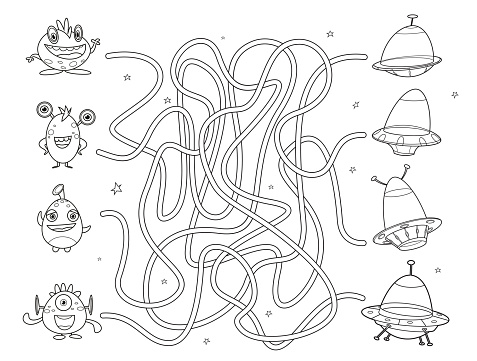 Black And White, Maze game for kids. Help the aliens find the right way to the UFO