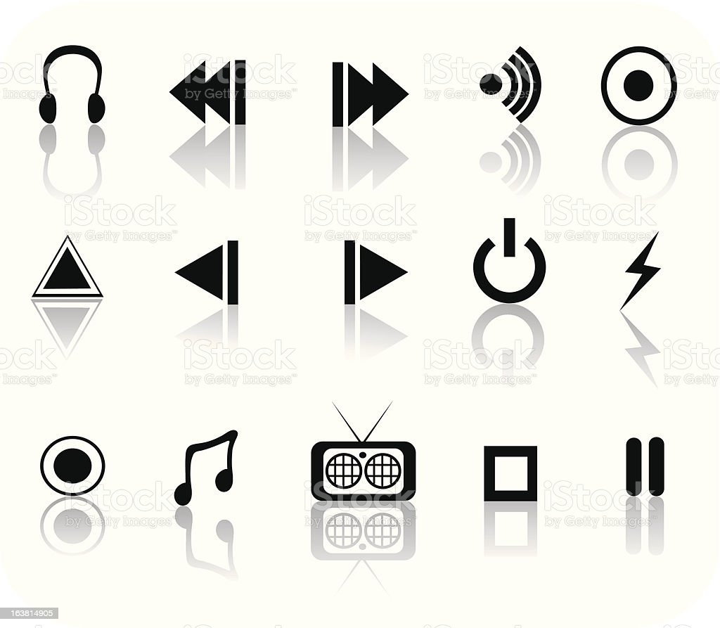 Black and White media set royalty-free black and white media set stock vector art & more images of arrow symbol