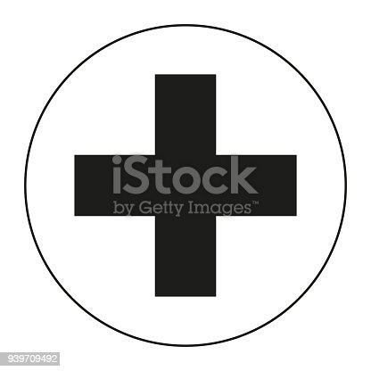 Black And White Medical Cross Symbol Silhouette Stock Vector Art