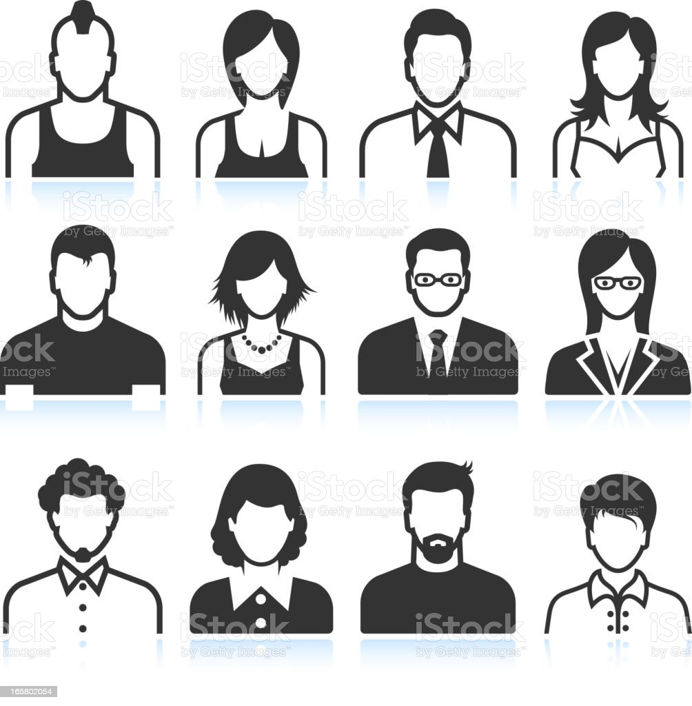 Black and white men and women icons vector art illustration