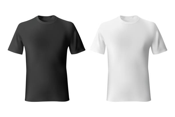black and white mens t-shirt template realistic mockup - чёрный цвет stock illustrations