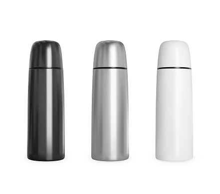 Black and white metal thermos. Realistic vector mockup.