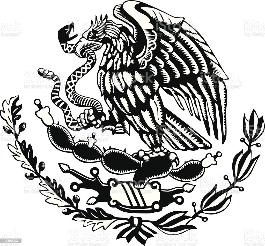 Black And White Mexico Coat Of Arms Carved Style Stock ...